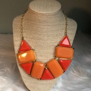 Two Tone Coral Jeweled Statement Necklace